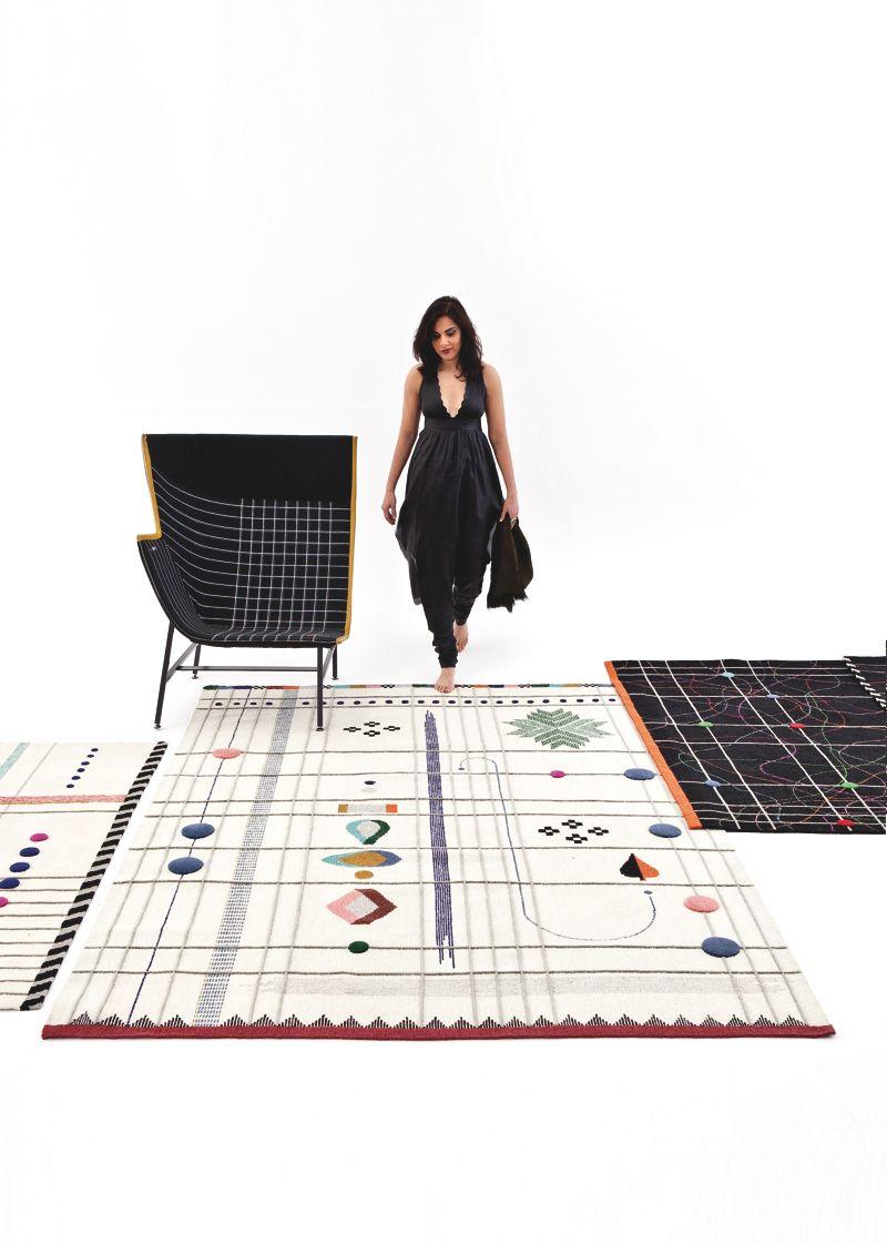 Nipa Doshi walking on the new 'Rabari' rugs for Nanimarquina.Photography by Albert Font.