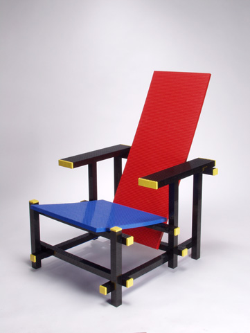 The effect from a normal viewing distance is quite uncanny. MInale Maeda's 'Red & Blue Lego chair'.