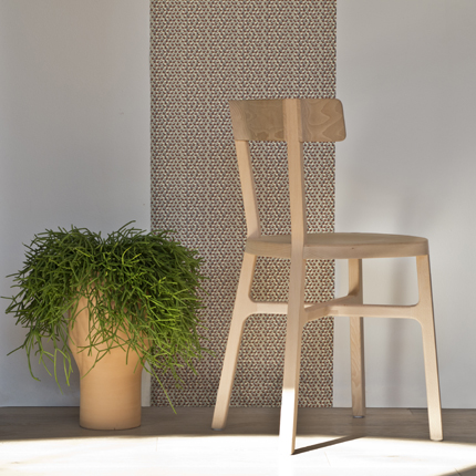 The 'Stia' chair by Giulio Iacchetti is made from solid beech - again using 5 axis c'n'c machines.