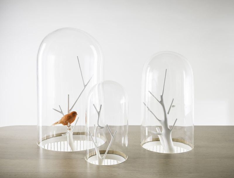 A close-up of the borosilicate glass domes that appear like bell jars sitting on de Lafforest's desk.