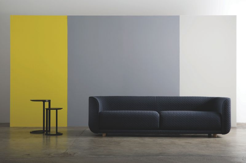 The 'Fat Tulip' sofa and 'Nest' sidetables - part of the new Adam Goodrum by CULT collection.