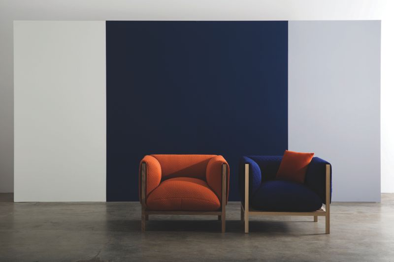 The 'Loom' armchair is an open framework that wears a drape of fabric or leather. A little like sitting in an all encompassing marshmallow, the chair is unbelievably comfortable. Shown here in two different Innofa fabrics.