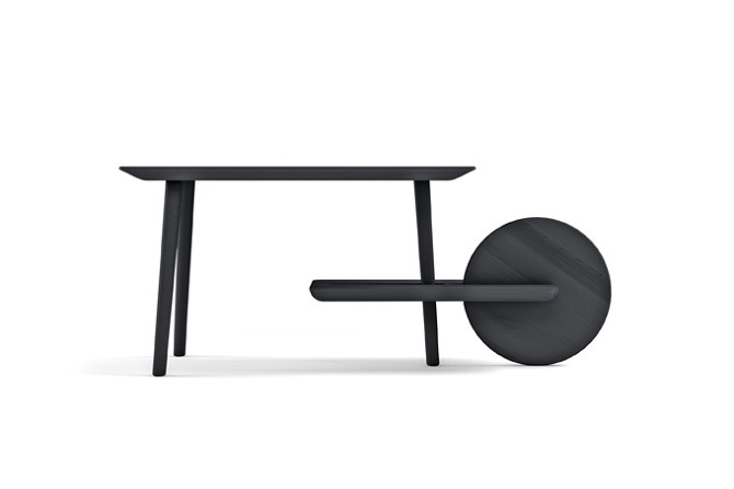 Wonderfully graphic, the 'Dot' table for Casamania has the hint of a heroic gesture - as if the wheel were a shield.