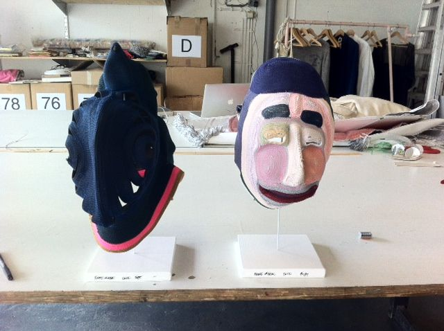 Two of Bertjan Pot's masks in the studio before being shipped to gallery Oh.