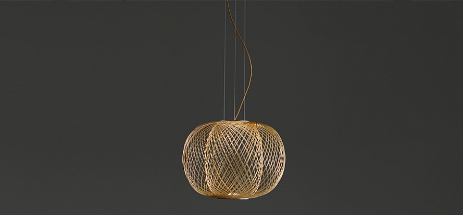 The 'T45' is a ball shaped pendant lamp by Stephen Burks for Parachilna.