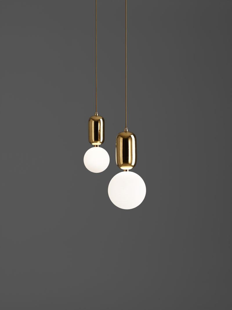 The 'Aballs' pendants work beautifully as a single unit or a group. The lamp comes in three sizes and three gloss finishes: black, gold and white.