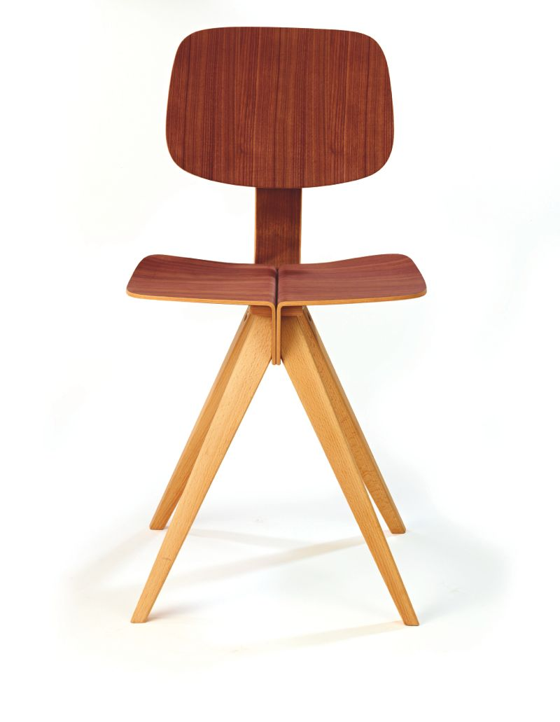 A front view of the 'Mosquito' chair in walnut and beech.