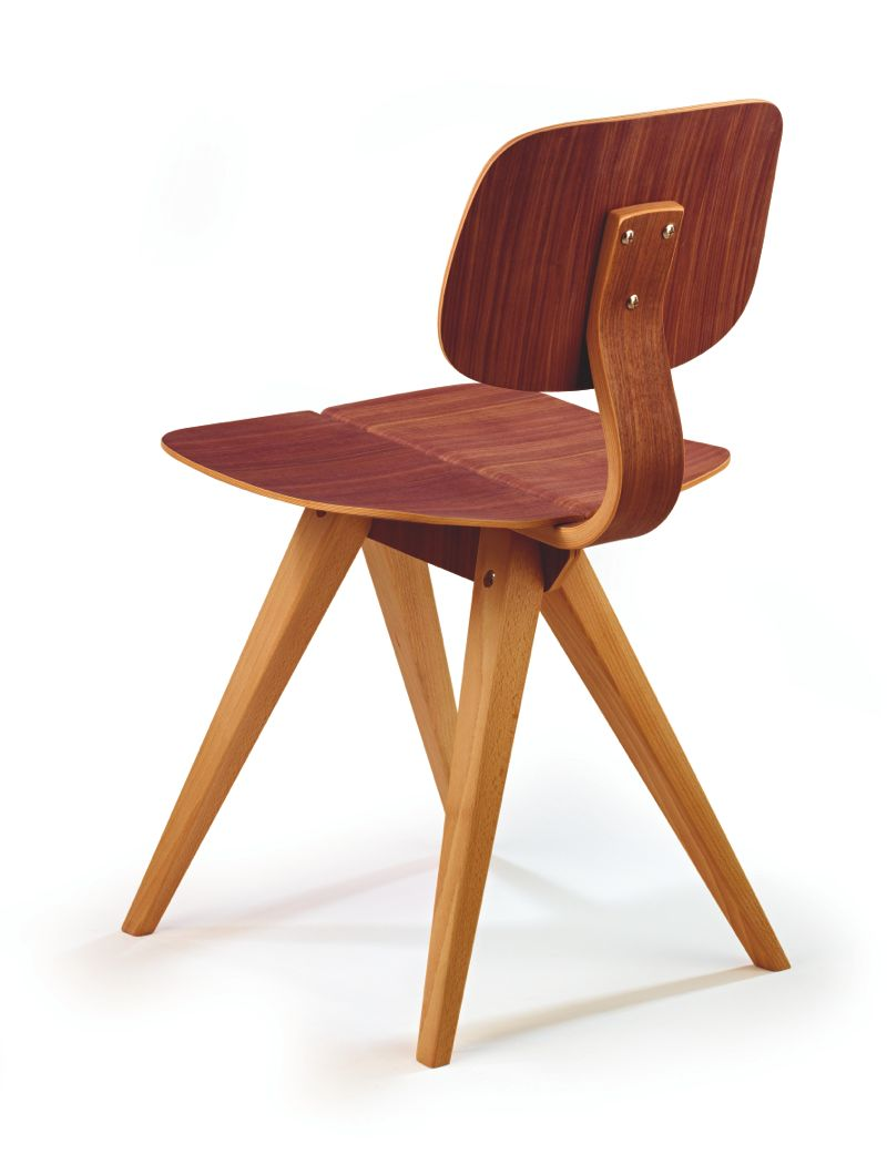 Rear view of the 'Mosquito' in walnut and beech.
