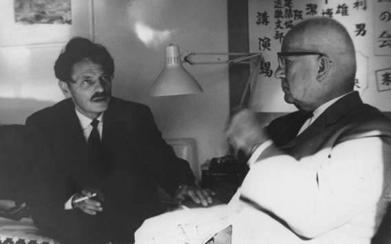 Niko Kralj in discussion with Richard Buckminster Fuller in the 1960's.