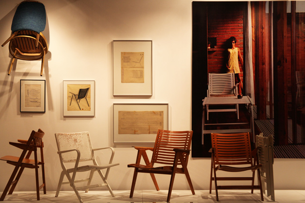 Another view of the exhibition, Niko Kralj: The Unknown Famous Designer, showing several lesser known designs, prototypes, the 'Rex 120' lounge chair and 'Rex' folding lounge chair.