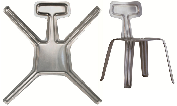 The 'Pressed' chair by Harry Thaler for Nils Holger Moormann, is made from a single sheet of aluminium.