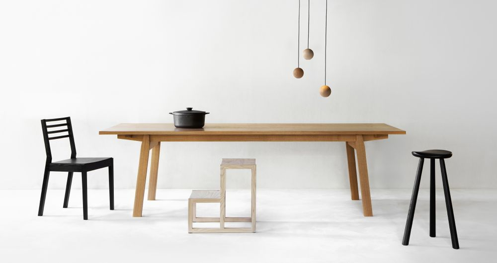 A recent promotional image for Nikari featuring from left to right; the TNT3 chair by Tomoshi Nagano, the KVP 1-2-3 table, the TT2 steps/stool both by Kari Virtanen, the JRV1 lights by Jenni Roininen and the RMJ 1-2-3 stool by Rudi Merz.