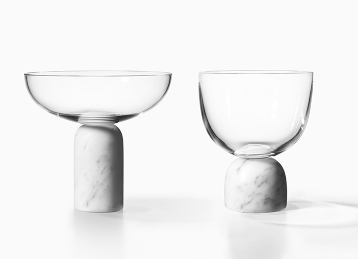 Lee Broom's 'On the rock' glass and marble drinking vessels.