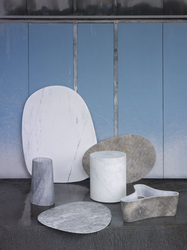 Platter and vase forms from the Solid Patterns collection by  Scholten & Baijings for Luce di Carrara. They are carved from marble and given a very soft tactile finish. Photo by Scheltens & Abbenes.