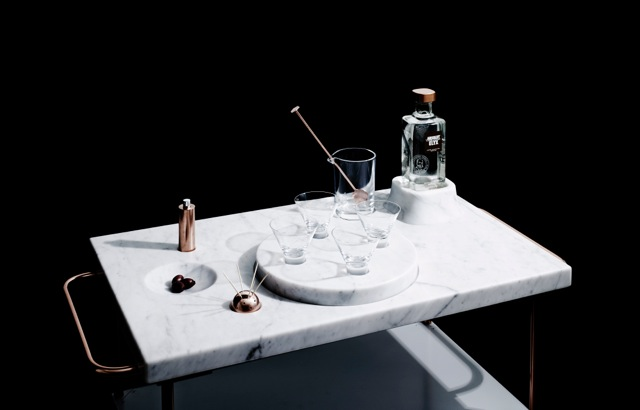 Blakebrough + King's amazing copper and marble 'Elyx' Martni Trolley celebrates the making of a dry martini. Photo by Andy Lewis.