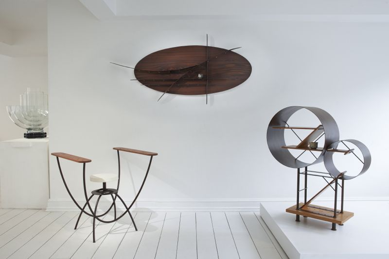 19 Greek Street showed a wide range of work from designers such as Hamajima Takuya whose 'U stool', 'Shelf' and 'Shelf 02' can be seen above. The table light in the background is called  'Transmission' and is by Prague based designers, studio deFORM. Photo by Jaime McGregor Smith.
