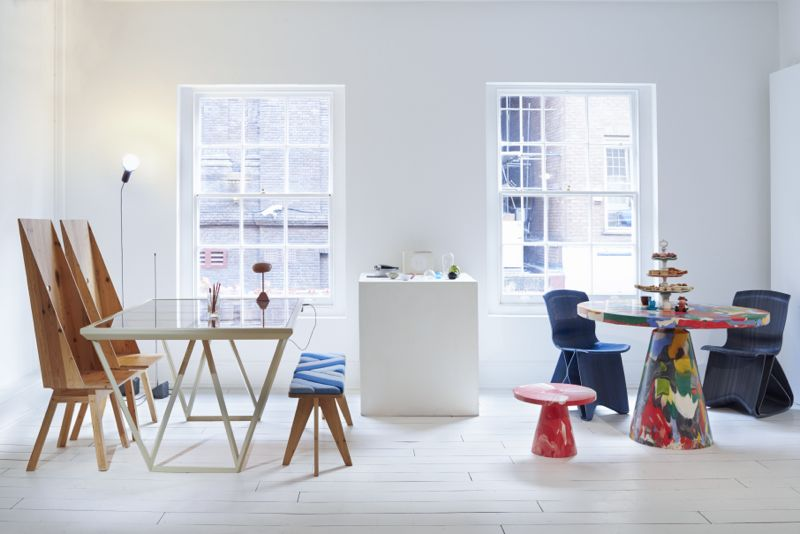 The Design Café at 19 Greek Street featured a massive number of inventive designs including Marjan van Aubel's 'Current table' (left) and Dirk Van Der Kooij 'Melting Pot' tables and 'Flow' chairs (right). Photo by Jaime McGregor Smith.