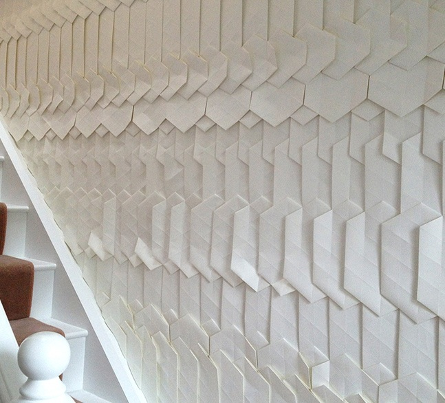 A 2013 site specific installation by Tracey Tubb. Each piece of wallpaper or wall installation is hand folded by Tracey herself.