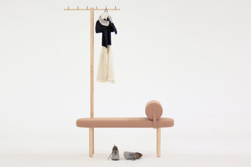 The 'Avignon' coat stand and bench. A play on the form of the garden rake combined with a mini daybed.