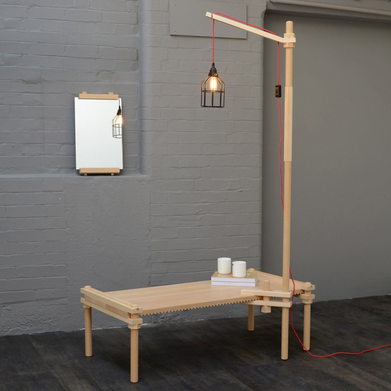Ester Comunello's 'Turn' collection, a finalist in  Heal's Discovers 2014,  includes a bench , floor light and mirror.