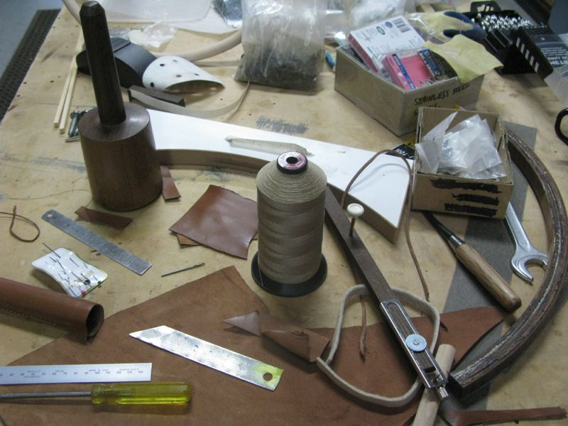 The tools of the trade including an improvised circle cutter.