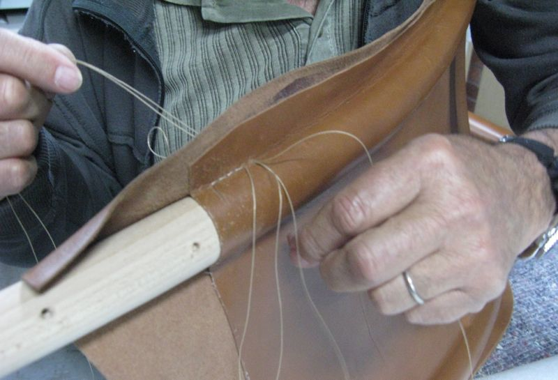 A close up of the stitching in progress. This requires enormous patience and accuracy.