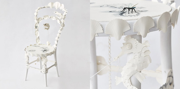 Artist James Gordon produced a chair covered in cut paper with drawings and watercolours on a sea crustacean theme.