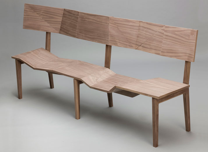 The 'Nuremberg Bench' appears to be unfolded  from solid timber boards.
