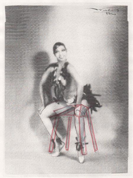 The marked up image of Josephine Baker creates the basic shape of the stool.