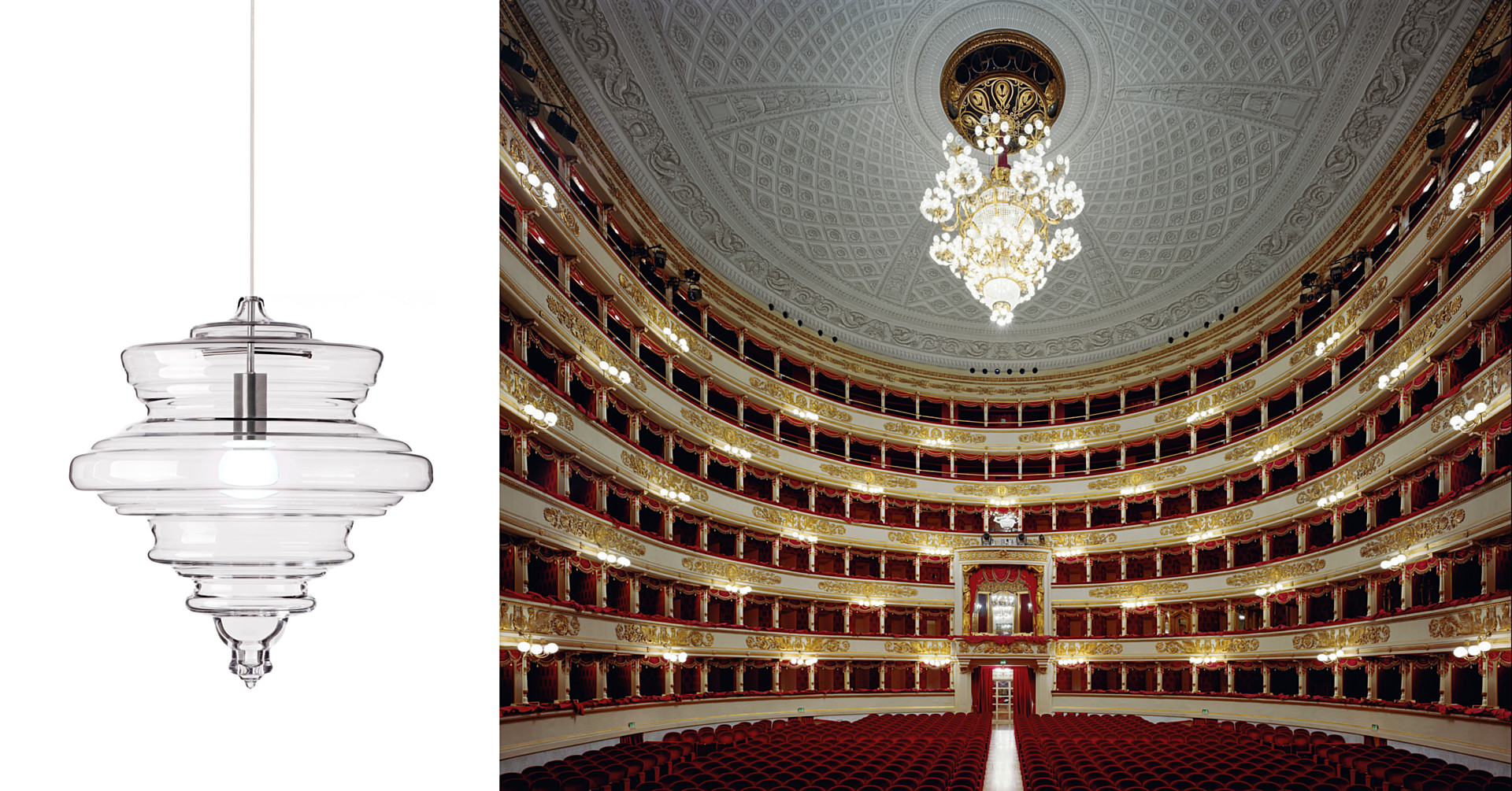 The 'La Scala' pendant from the Lasvit  Neverending  collection and the theatre in Milan that inspired it.