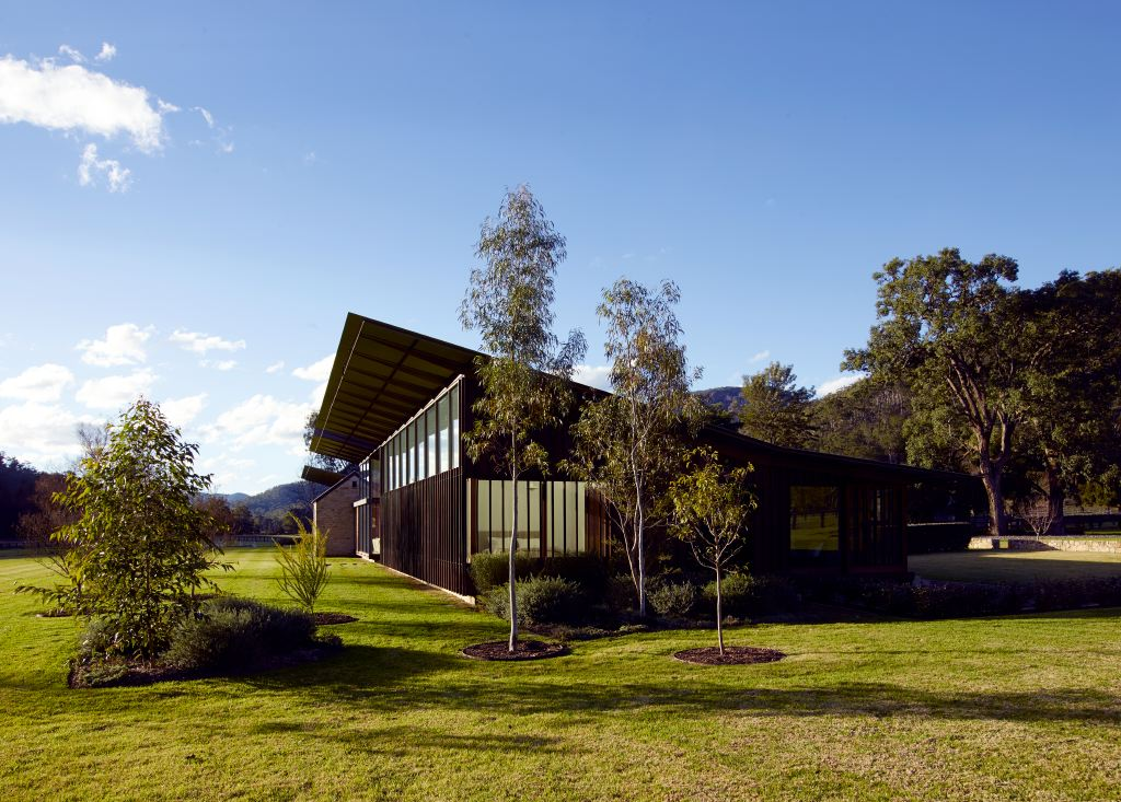 The bedroom end of the Hunter Valley house by Virginia Kerridge. The house was sited roughly parallel to the creek - conforming to the natural flow of the valley.