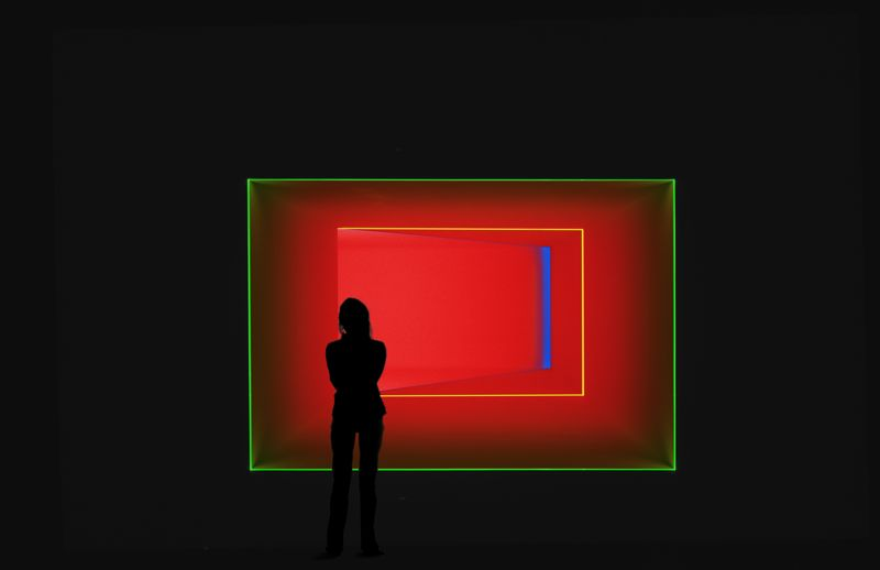 James Turrell's 'After green' 1993 - Wedgework: fluorescent, LED and fibre-optic lights.