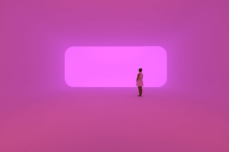 James Turrell's 'Virtually squared' 2014 - Ganzfeld: built space, LED lights.