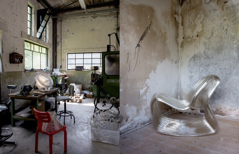 A page from the chapter on Dirk van der Kooij showing his studio and one of his extrudedchairs.