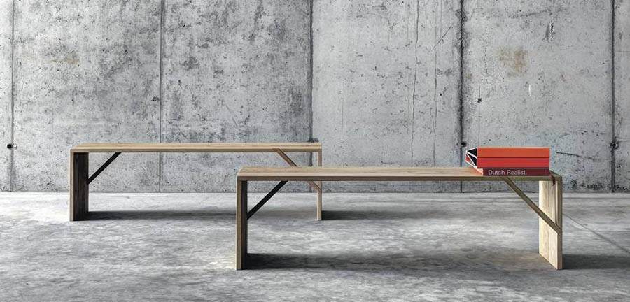 The 'Tintan' bench by act_romegialli for Fioroni. Each face has just one 45º crossbrace as a structural detail.