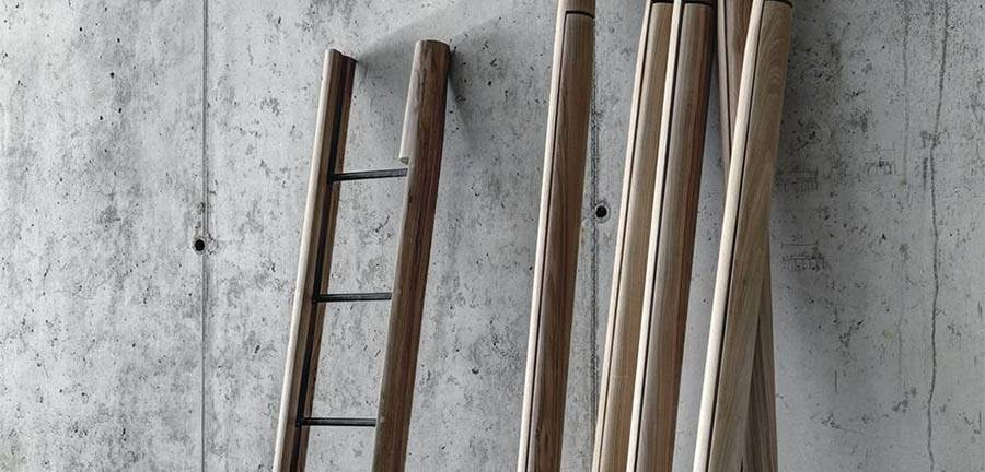 The 'Rascana' ladder is a traditional design from the region that has been re-designed by Studio Guscetti. A folding ladder that comes together as a simple pole when not required, it is made from solid walnut.