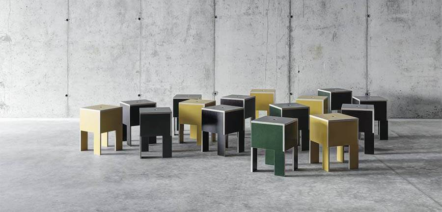 'J.M.B. stool' by CCRZ uses formply in three different colours: yellow green and black.
