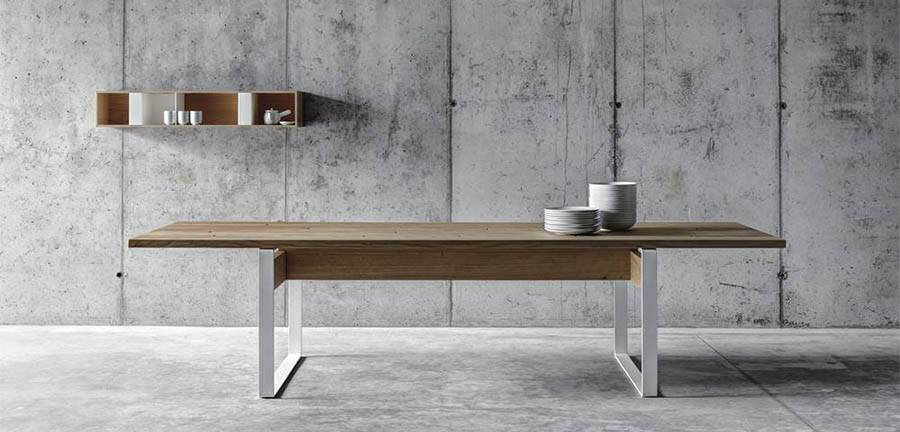 The 'La Punt' table by act_romegialli with an example of their 'T box' wall storage in the background.