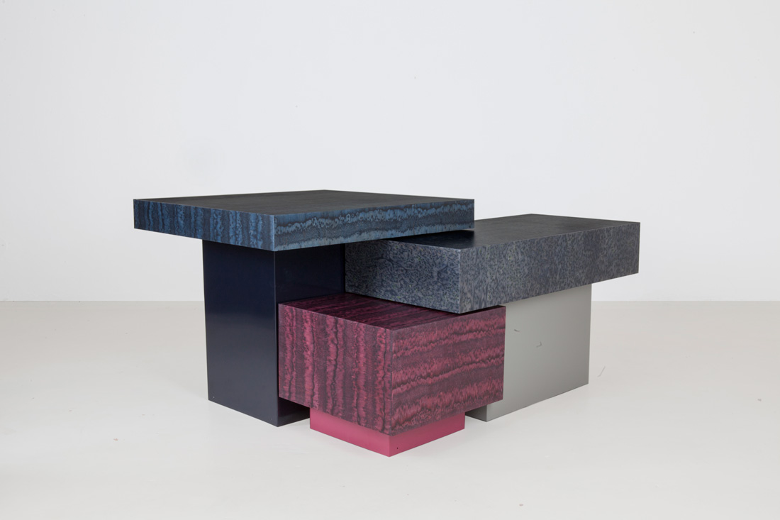 German design studio llot llov new trio of tables 'Osis', that appear to be made of stone.  Photo by BAtoMA