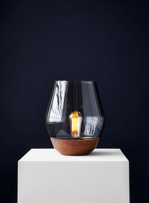 New Works 'Bowl' table lamp by Knut Bendik Humlevik in the Raw Copper and green glass .