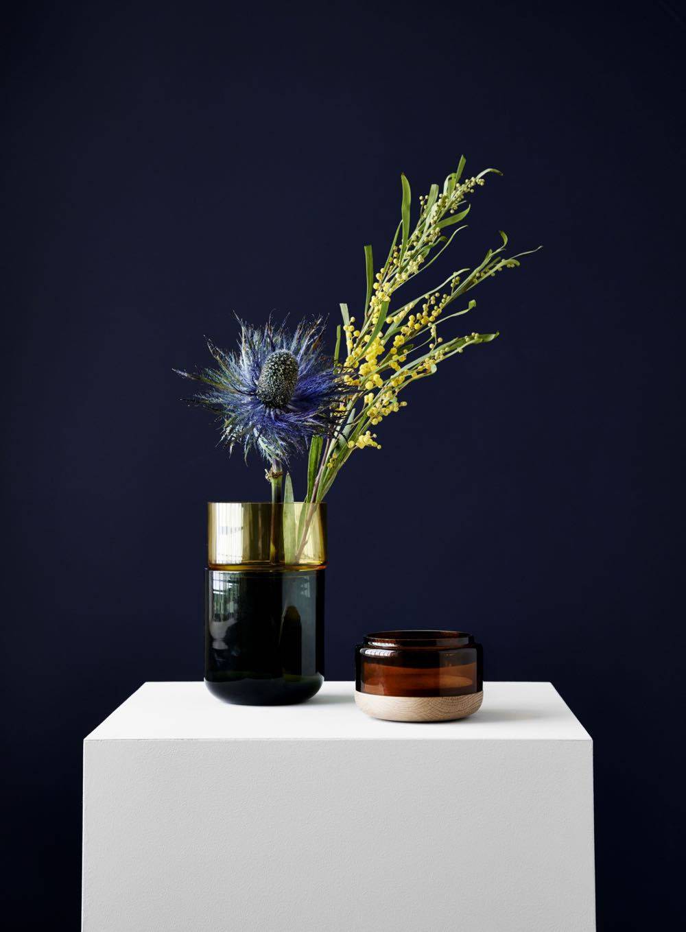 'Pi-No-Pi-No' vessels by Tuukka Tujula and Maija Puoskari for New Works. The stacking design can be vase or container. Made from timber glass and ceramic or metals such as brass or copper the playful combinations can be mixed and matched.