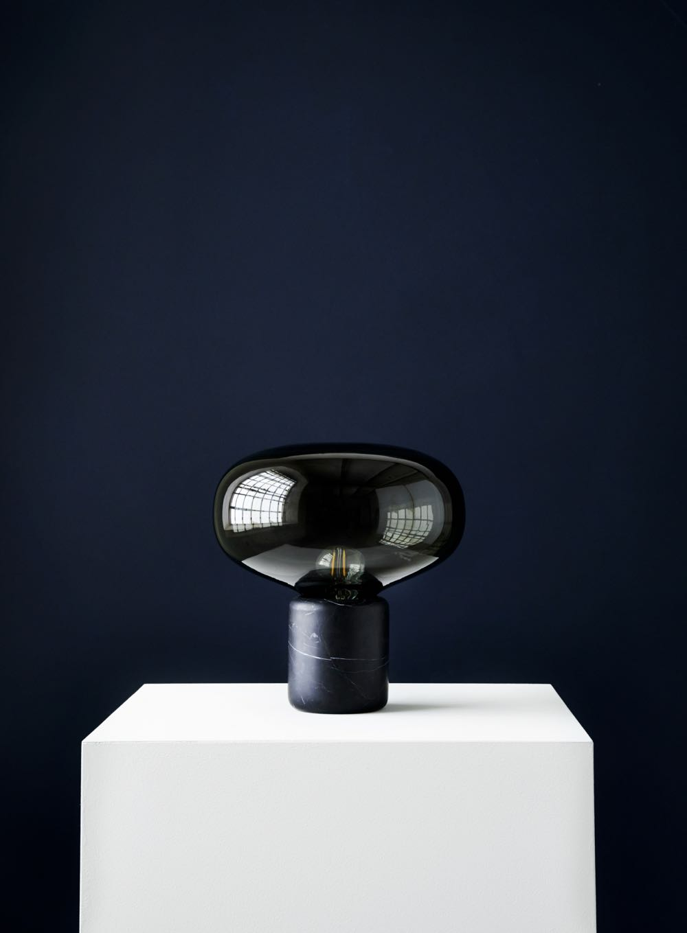 'Karl-Johan' table lamp by Signe Hytte. Available with a nero marquina marble or in dark timber  base .