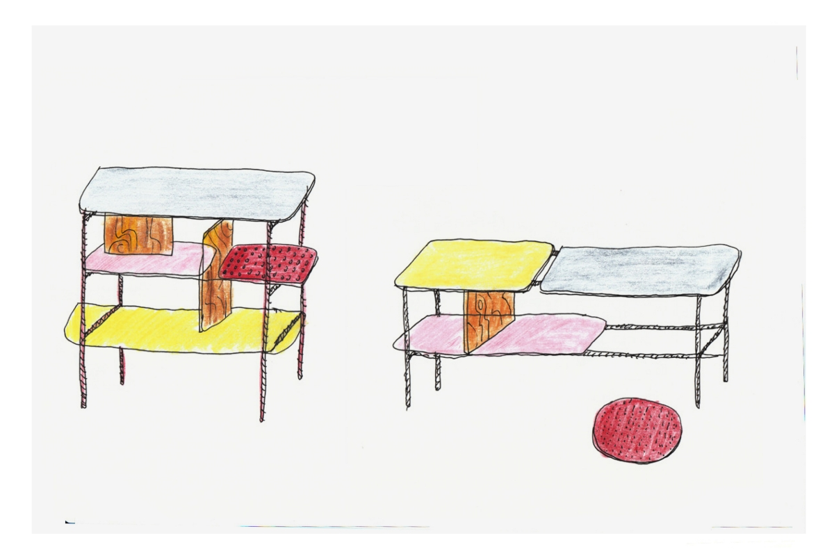 Willenz' sketches for the Cappellini version of his 'Candy' shelving.