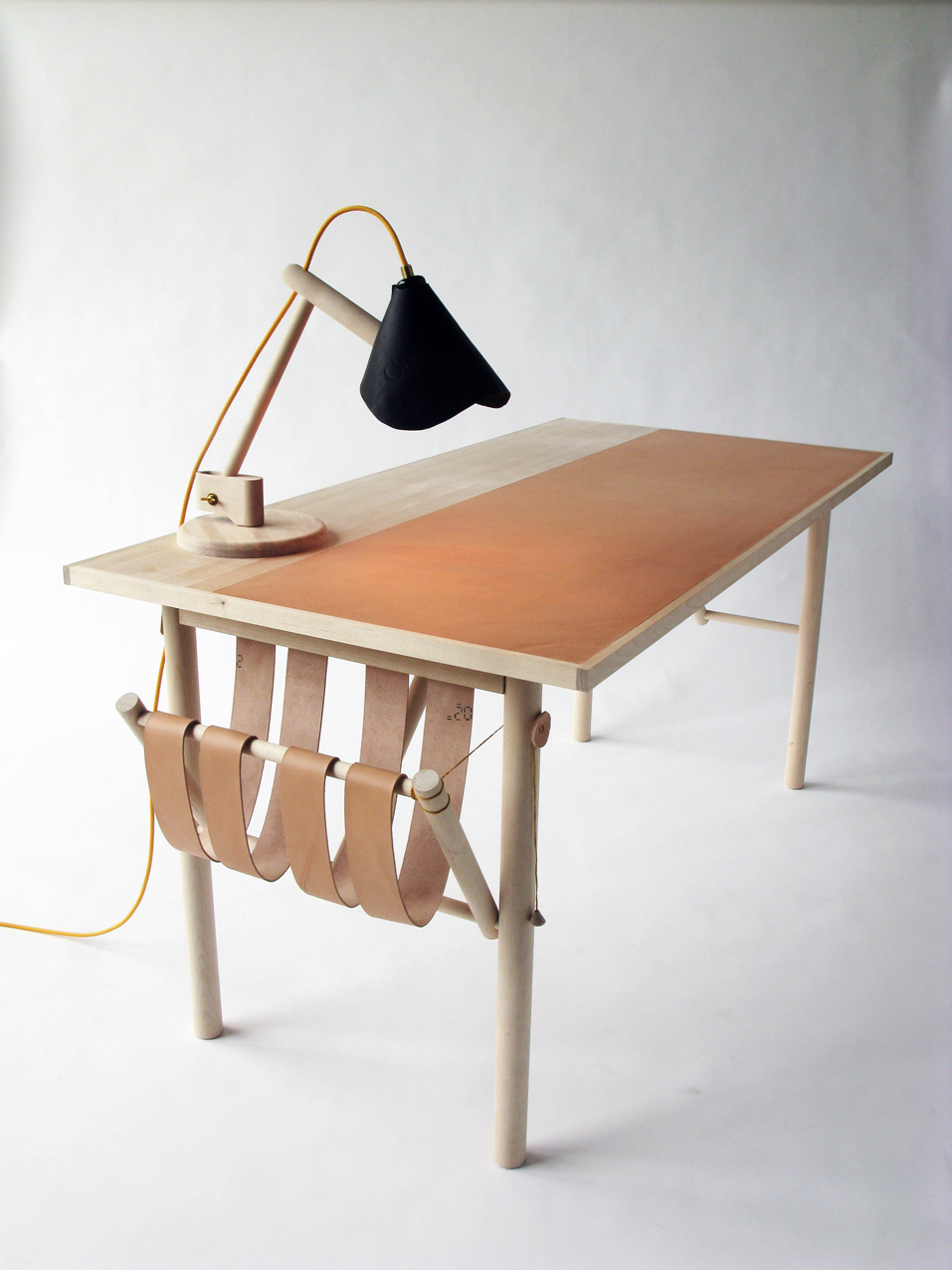 One of the table lamps and the desk from Ericsson's 'Carl Malmsten Made Me Do It' graduation project.