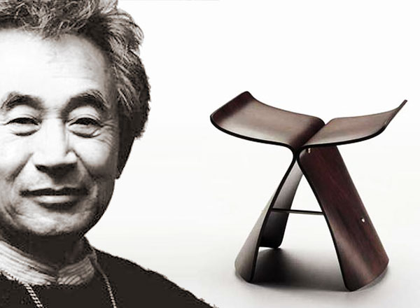 Sori Yanagi and his famous 'Butterfly' stool made by Tendo Mokko Japan, distributed by Vitra worldwide.