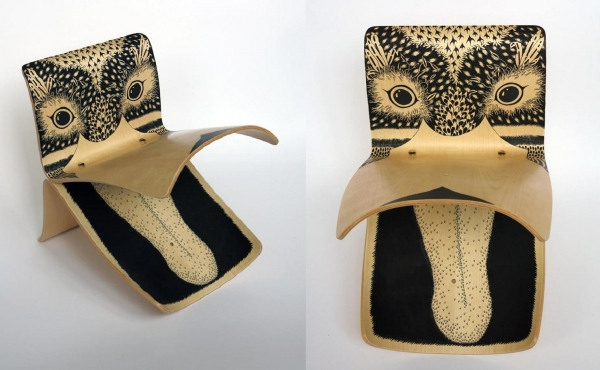 Illustrator / artist Claire Fanjul's re-imagining of the stool as the face and beak of a duck.