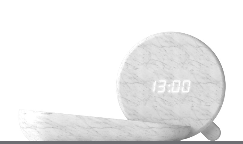 Exploiting the translucency of marble: The 'DIN' clock by Claudio Larcher.