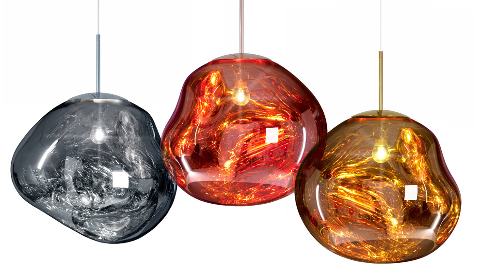 A close-up look at the amazing seemingly liquid glass pendants called 'Melt' by Front for Tom Dixon.