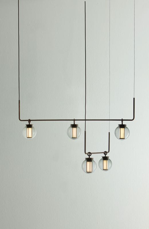 The 'BAI Di Di' 5 light chandelier by Neri & Hu for new Spanish lighting brand Parachilna.
