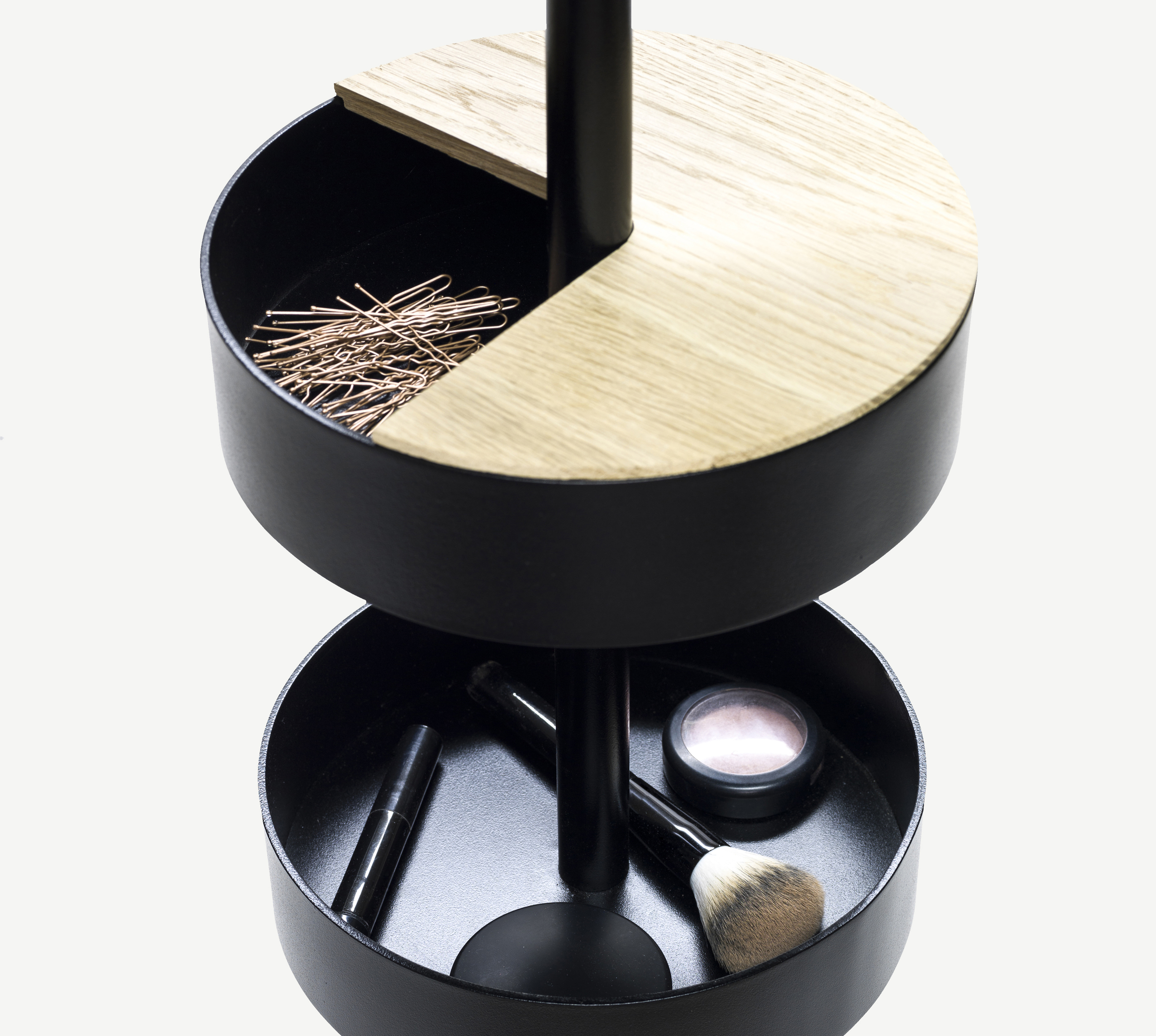 Thomas Schnur 'Stand up' circular containers with oak lids.